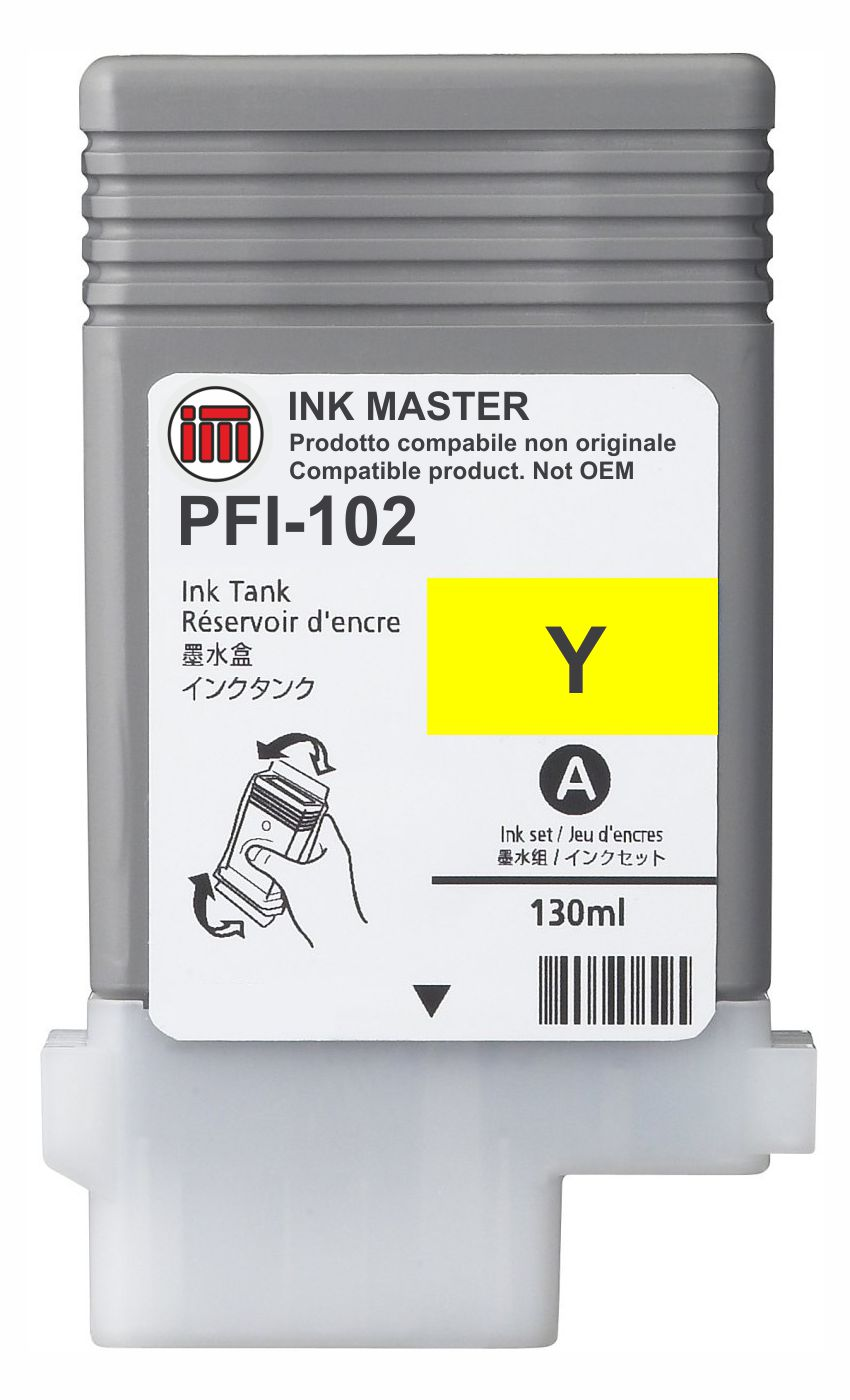 Cartuccia compatibile CANON PFI-102 YELLOW  per Canon IPF 500 510 600 605 610 650 655 700 710 720 750 755 760 765 LP17 LP24